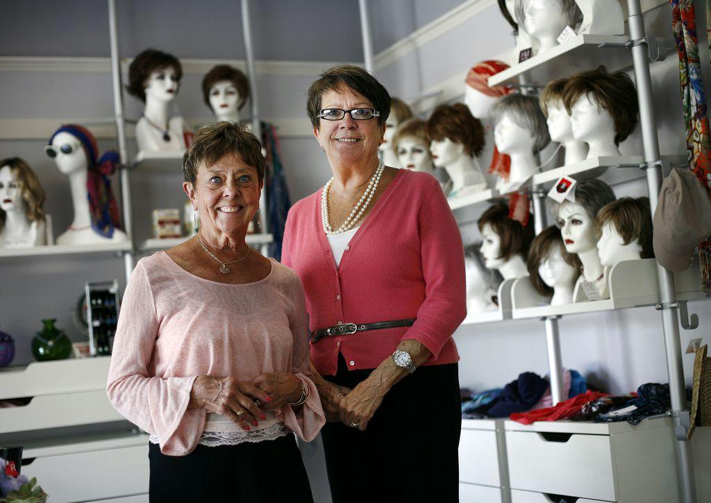 Shirley Hanlon and Patricia Souke are celebrating 25 years of co-owning New England Medical Fitting of Weymouth. The business specializes in prosthetic bras and clothing for breast cancer patients and wigs for women undergoing cancer treatment. Photo: Greg Derr
